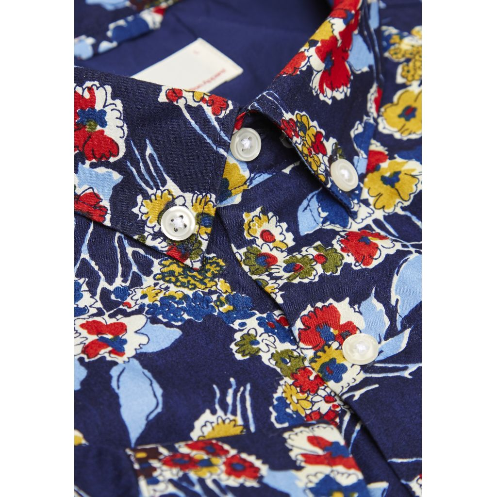Poplin Shirt W/Allover Flower Print - Peacoat