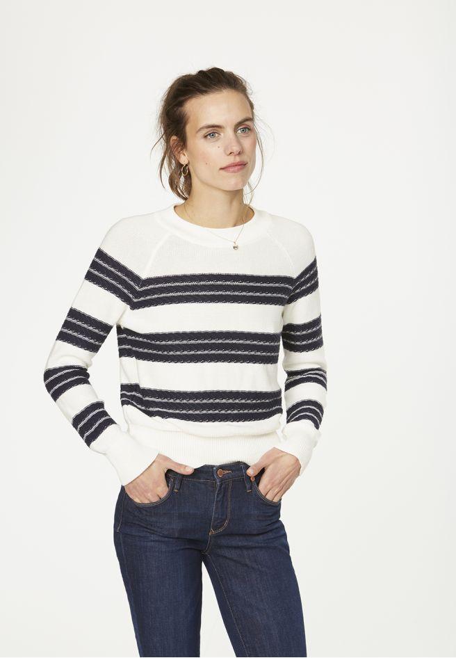 Midori Stripes - Off white/Navy