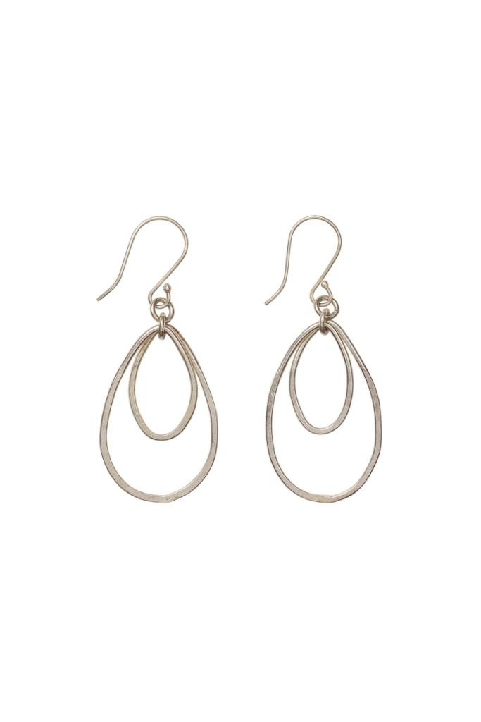 Oval Drop Earrings - Silver