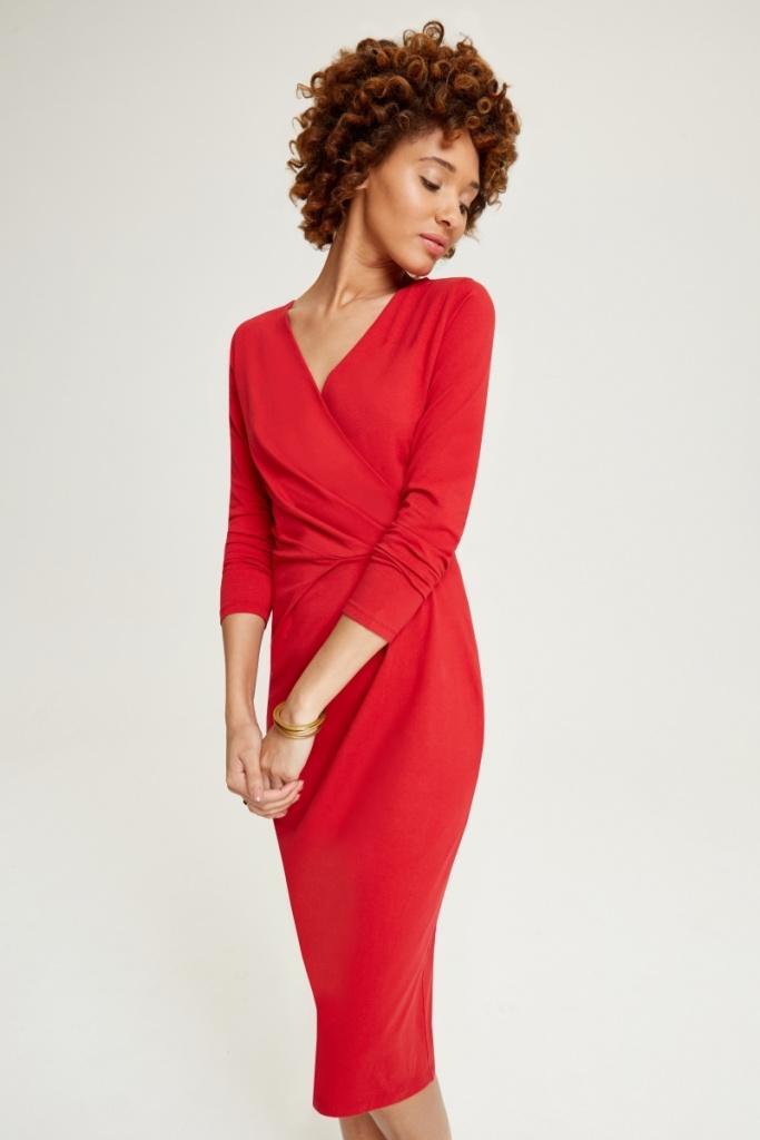 Irene Wrap Dress - Red