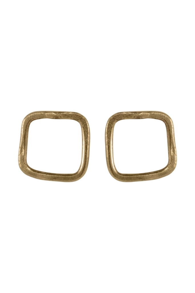 Square Stud Earrings - Brass