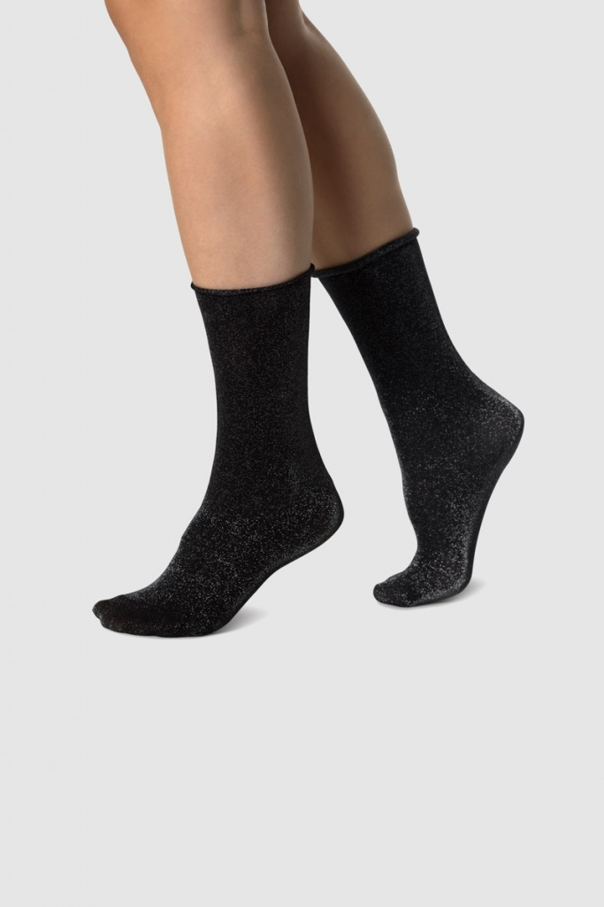 Lisa Lurex Socks - Black/Silver