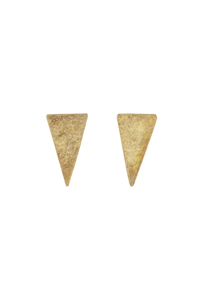 Triangle Stud Earrings - Brass