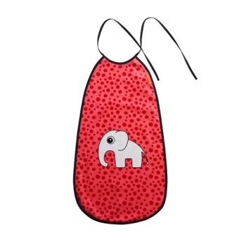 Lång Haklapp Happy dots Röd