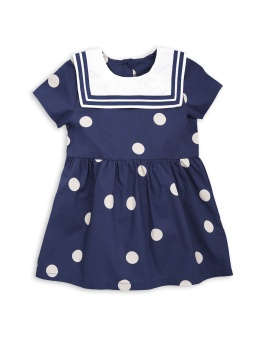 Dot woven sailor dress navy