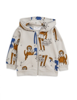 Cool monkey aop zip hood / Grey