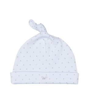 Saturday Tossie Hat Baby blue/silver dots