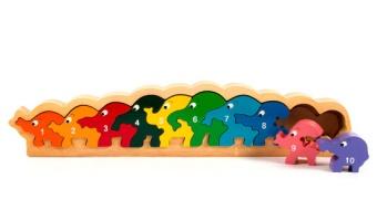 Pussel i ram 10st elefanter i trä