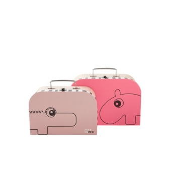Suitcase set, 2 pcs,  raspberry/powder