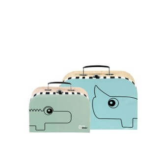 Suitcase set, 2 pcs, blue/gre