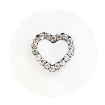 Namnarmband - Berlock - Hjärta strass vit