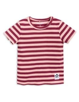 Stripe rib ss tee Pink