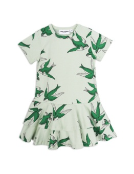 Swallows frill dress Green