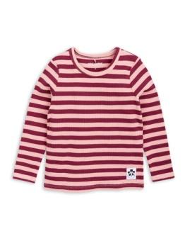 Stripe rib ls tee pink
