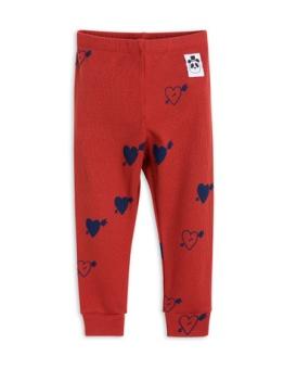 Heart Rib Leggings Red