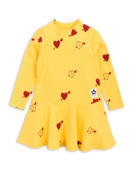 Heart Rib Drance Dress Yellow