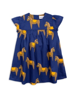 Horse woven frill dress Navy