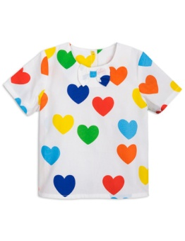Rainbow love woven blouse white