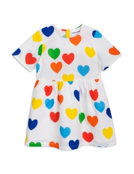Rainbow love woven dress white