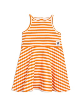 Stripe rib tank dress orange