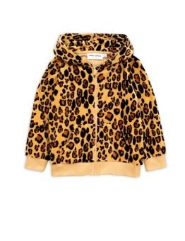 Leopard velour zip hoodie Beige