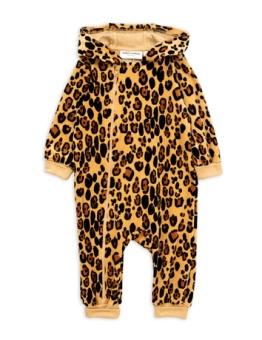 Leopard velour onesie Beige