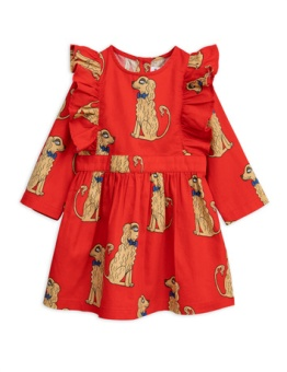 Spaniels woven ruffled dress Red