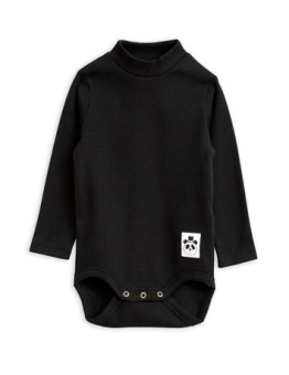 Solid rib turtleneck body Black