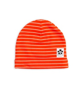 Stripe rib beanie Red