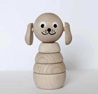 Trä byggleksak Bertram hund