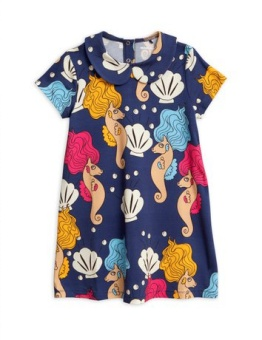 Seahorse collar ss dress/ Navy