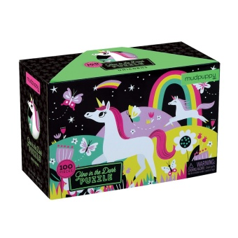 Pussel 100 bitars, Glow in the dark Unicorns