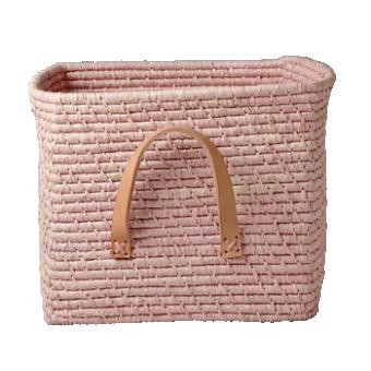 Rice Förvaringskorg m. Läderhandtag, Rosa
