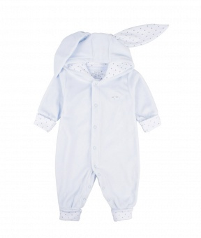 BUNNY COVERALL blue plush /silver dots