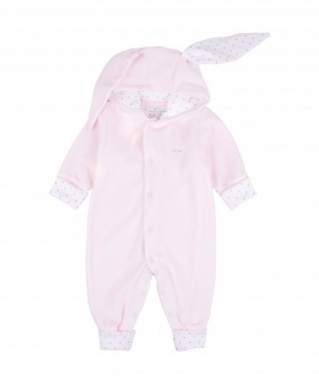 BUNNY COVERALL pink plush /silver dots