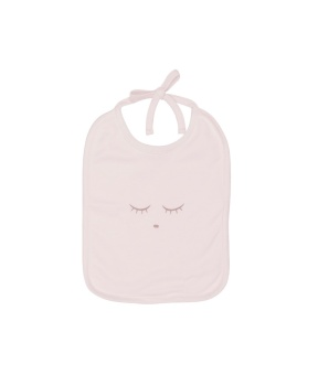 sleeping cutie tie bib pink/grey