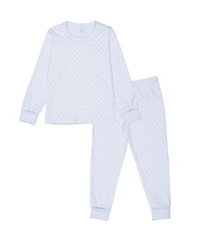 2 PIECE PAJAMA - BABY BLUE/WHITE DOTS