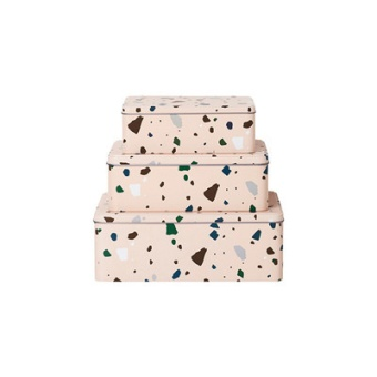 Terrazzo  Tin Boxes Rose (set of 3)