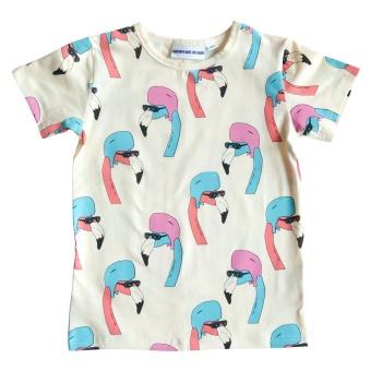Tee Helmut flamingo cream white