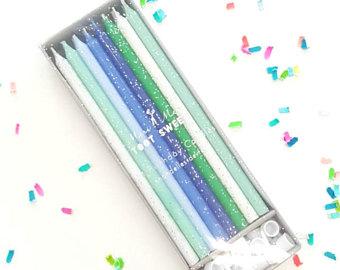 Tårtljus Blå/Grön 24 st