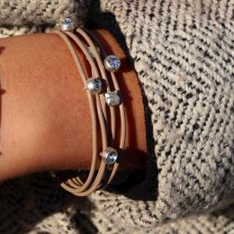 Bracelet Michelle, taupe/siler
