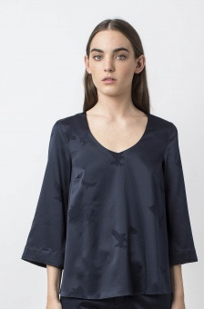 Emiko eagle blouse midnight blue