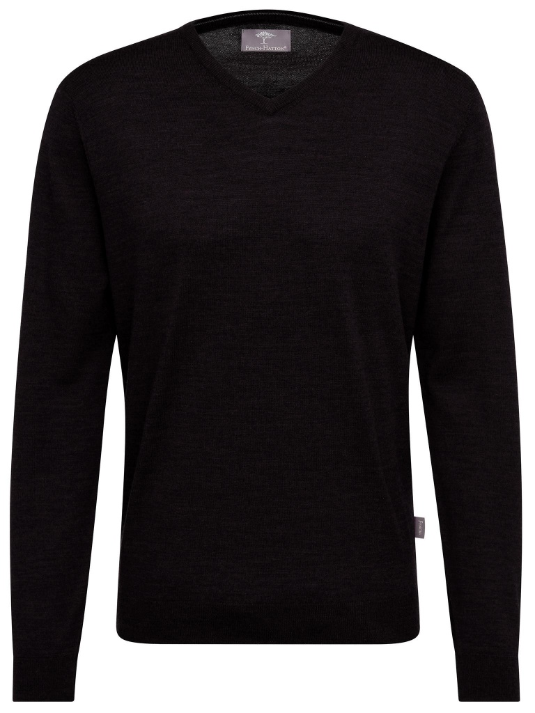 Fynch Hatton v-neck, Pure merino wool black