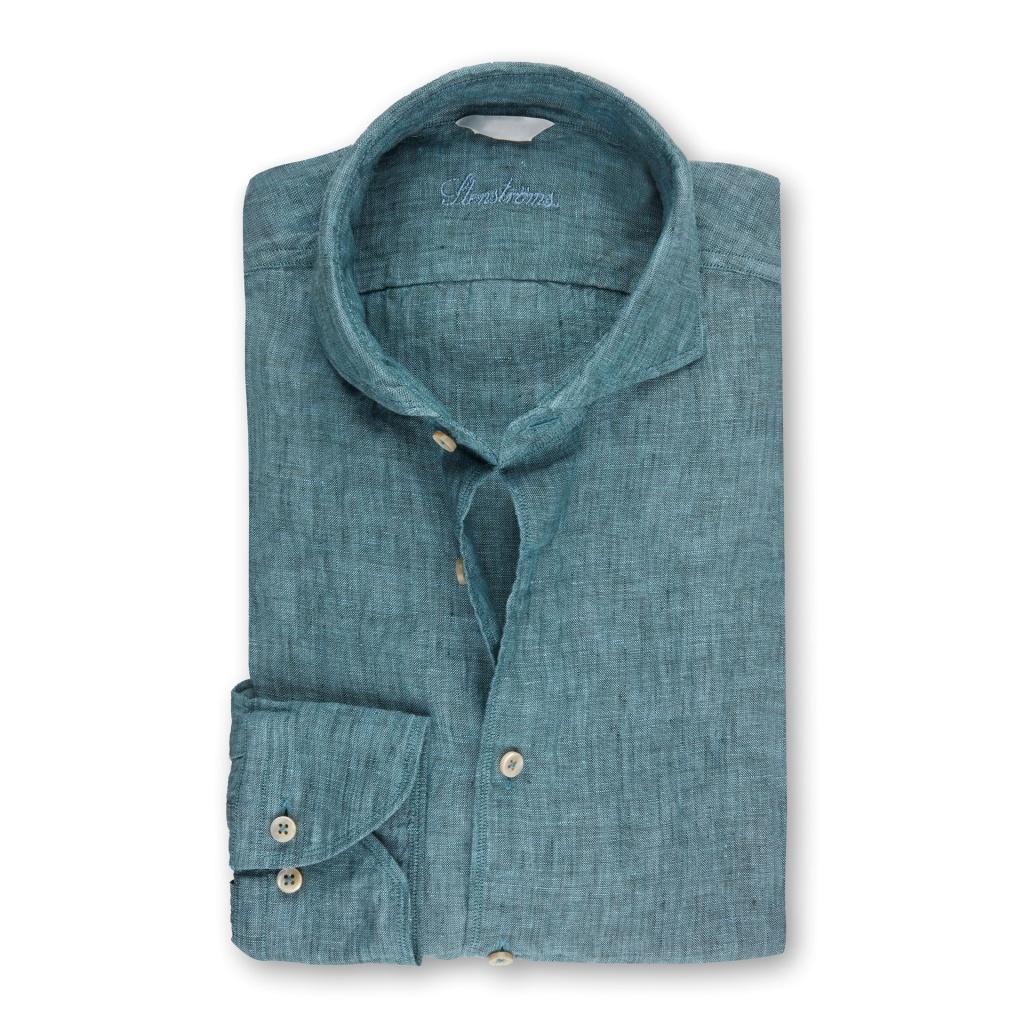 Stenströms Fitted Body Linen shirt Pale Green