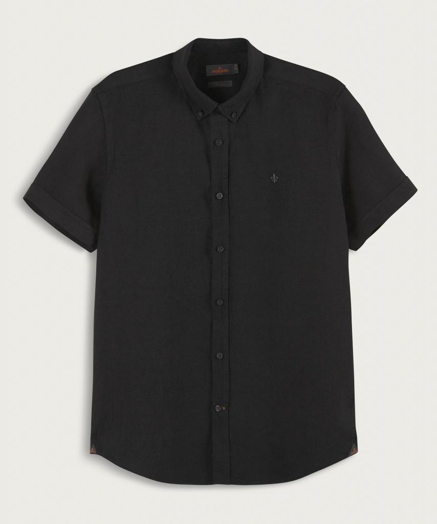 Morris Douglas SS Linen Shirt Black