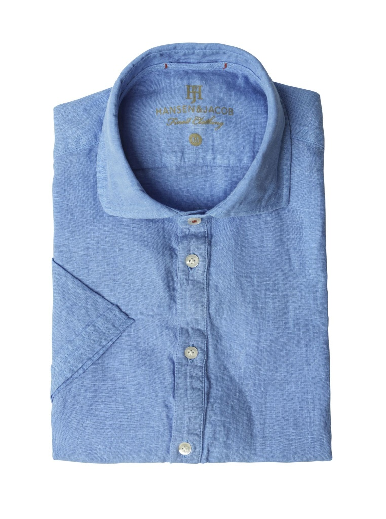 Hansen&Jacob Short Sleeve Linen Shirt Light Blue