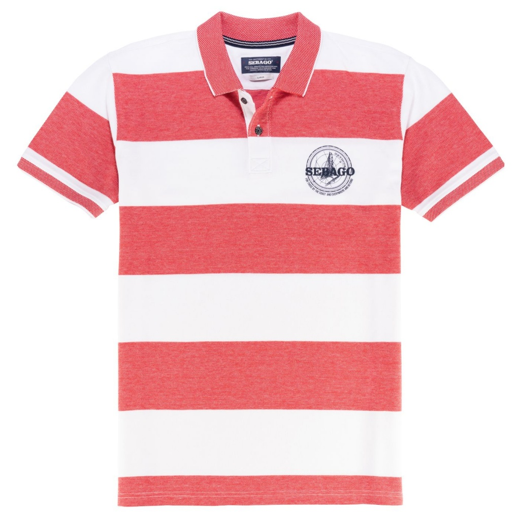 Sebago Block Striped Pique Red/White