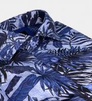 Dahlin Linneskjorta med blå bladmotiv