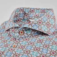 Stenströms Sicilian Tiles Fitted Body Linen Shirt