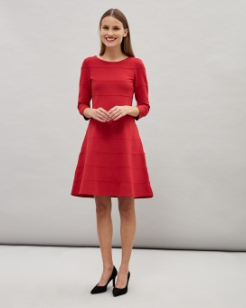 Newhouse Preppy Long Sleeve Dress, Röd